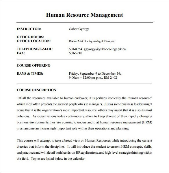 Human Resource Management Course Outline Template