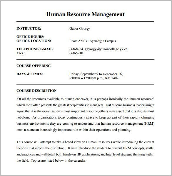 human resource management training course outline template