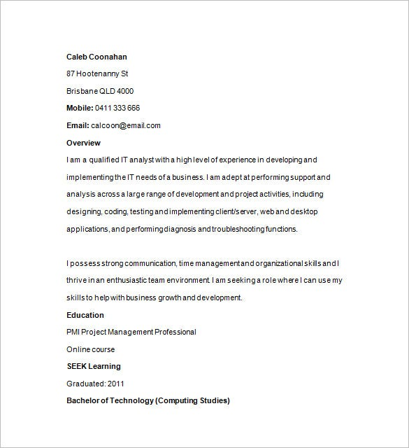it analyst resume sample