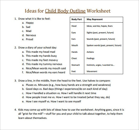 ideas for child body outline worksheet pdf