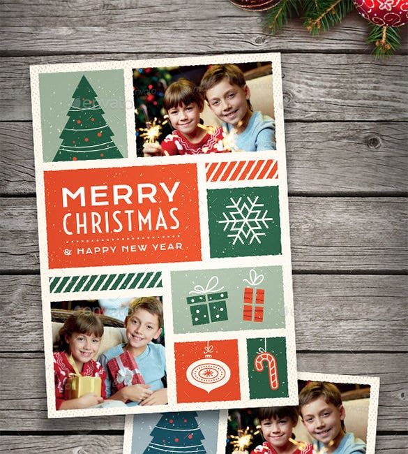illustrated christmas photo card psd design