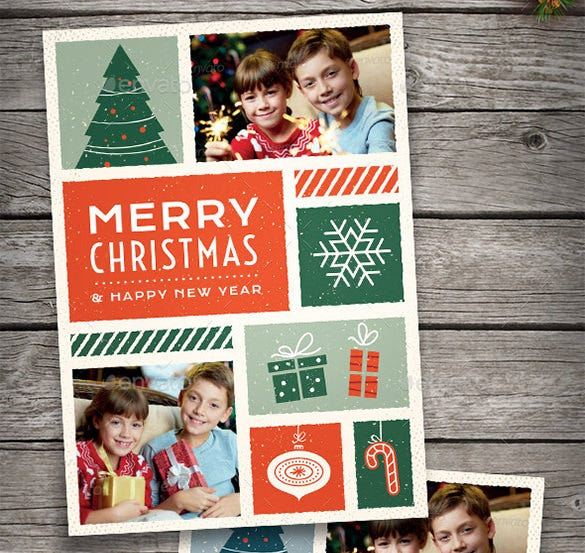 illustrated christmas photo card template