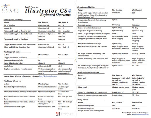 illustrator cs4 shortcut keys