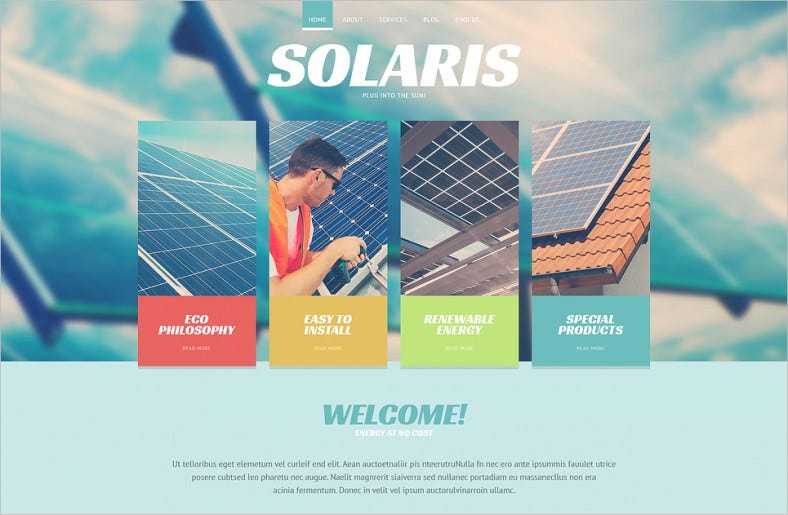 Image Background Website Template for Energy