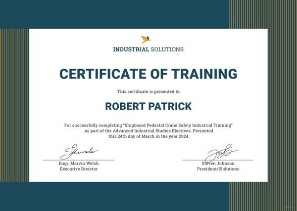 industrial training certificate template