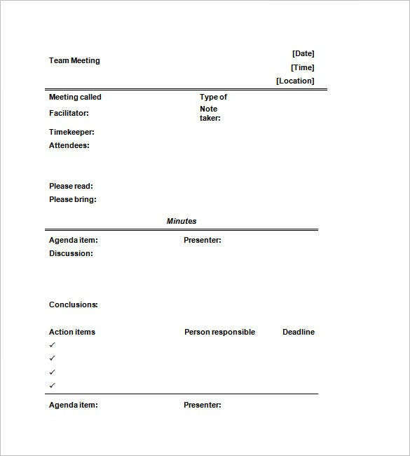 Informal Meeting Minutes Template Format. Free Download
