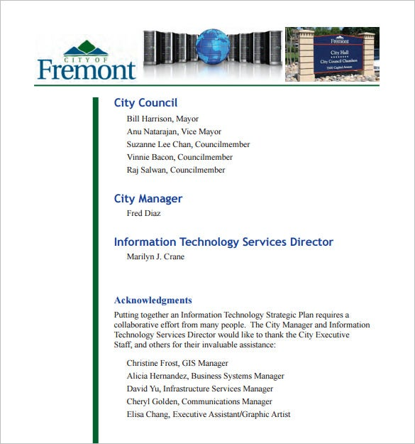 information technology strategic plan template pdf
