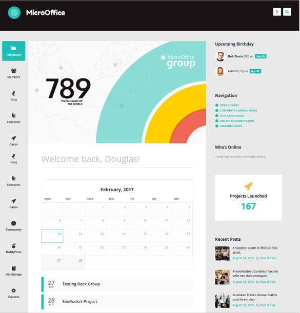 41 business html5 themes templates free premium for Company intranet template