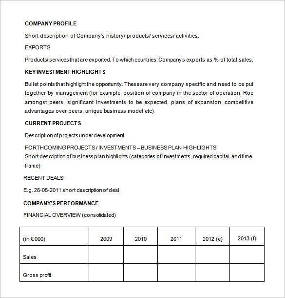 Investment Proposal Template 11 Free Sample Example Format – Company Proposal Format