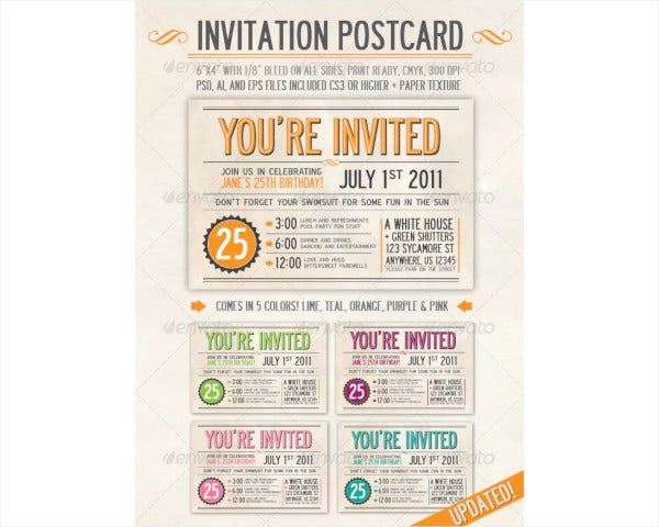 invitation postcard