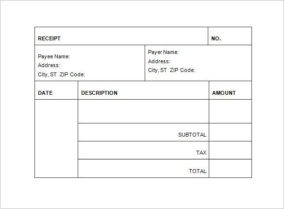 Invoice Receipt Template 8 Free Word Excel PDF Format – Receipt Sample in Word