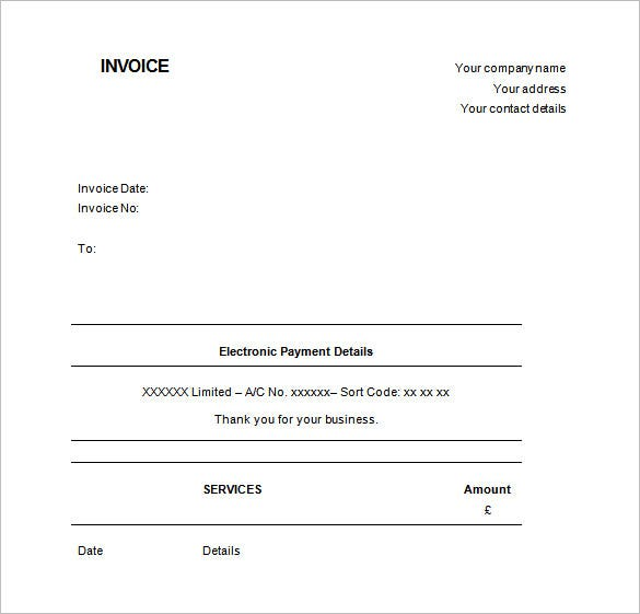 Free Invoice Template UK Word Download  Manual Receipt Template