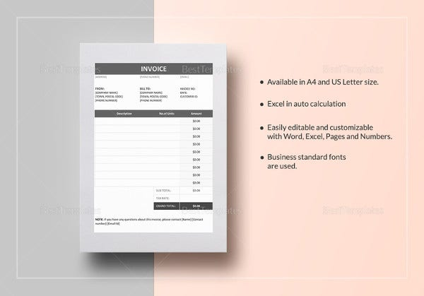 invoice template in ipages