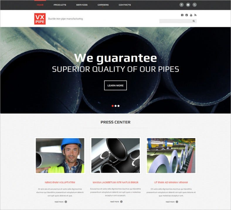 Iron Pipe Manufacturing Website Template