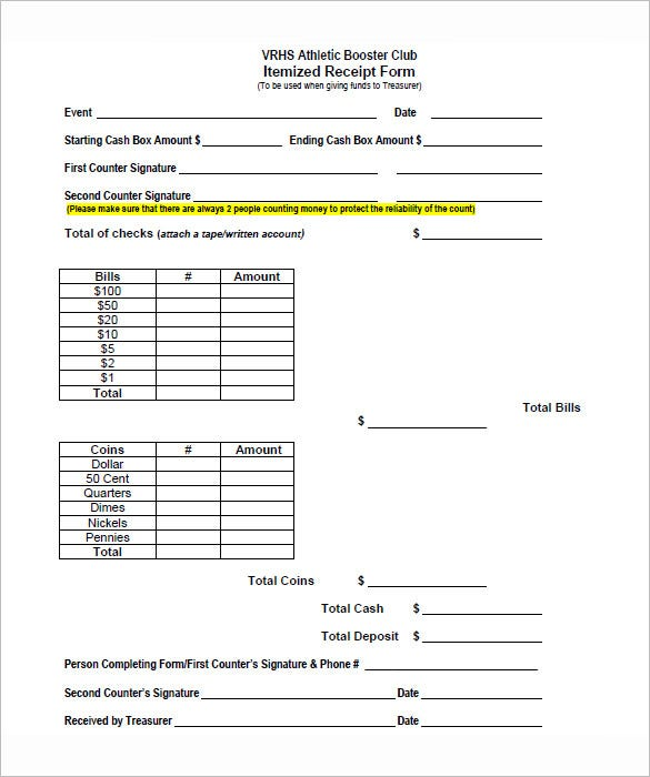 itemized receipt form pdf download