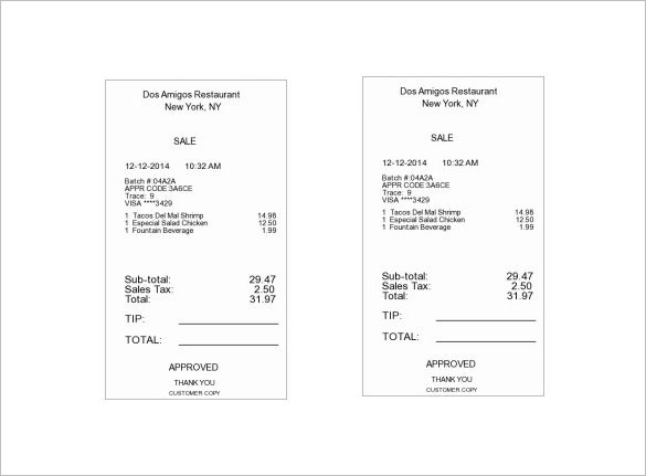 Restaurant Receipt Template 5 Free Word Excel PDF Format – Receipt Example Template