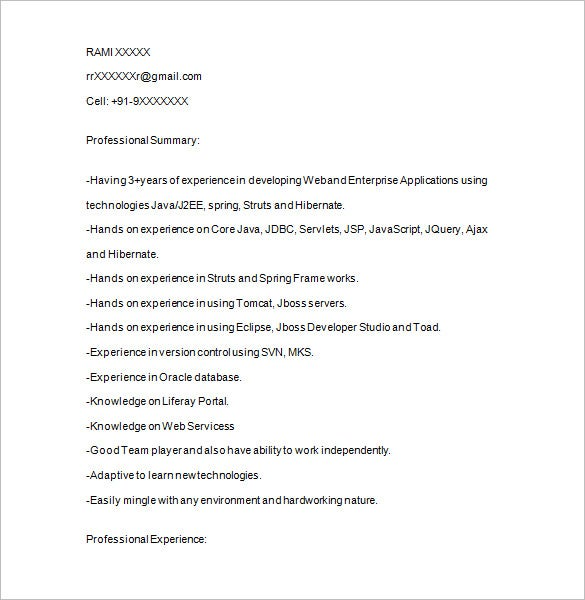 Java Developer Resume Format