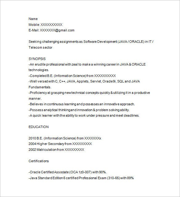 sample resume of 1 year experience in java