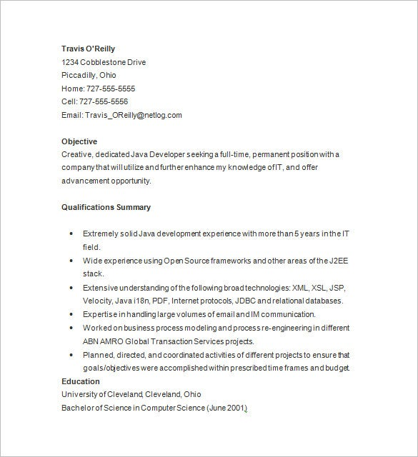 java developer sample resume template
