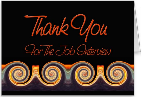 job interview thank you sunset swirl card