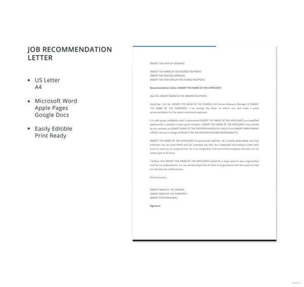 6+ Job Recommendation Letters - Free Sample, Example Format Download ...