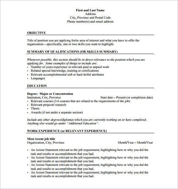 good resumes often have a good outline the format is simpler than you think but you have to know what must and mustnt go into a resume - Resume Outline Example