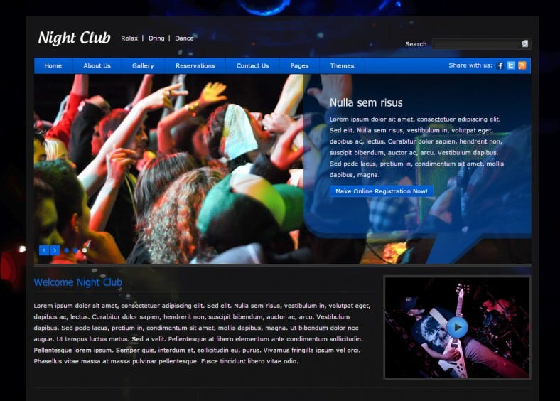 Jquery Drop Down Menu Integrated Club Night Template