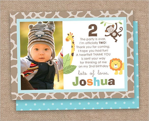 jungle 2nd boy birthday thank you card