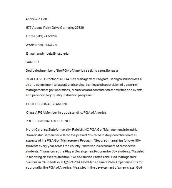 junior golf caddy resume download