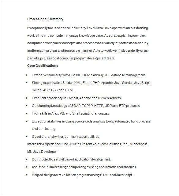 Java Developer Resume Template   Free Samples Examples