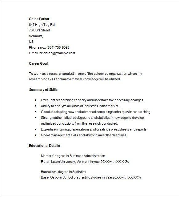 junior marketing analyst resume template - Market Research Resume Sample