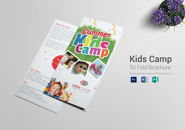 kids camp tri folding brochure template