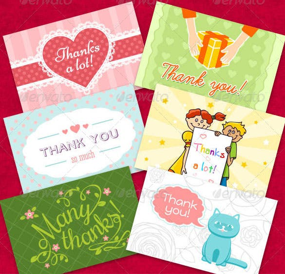 kids colourful thank you cardset