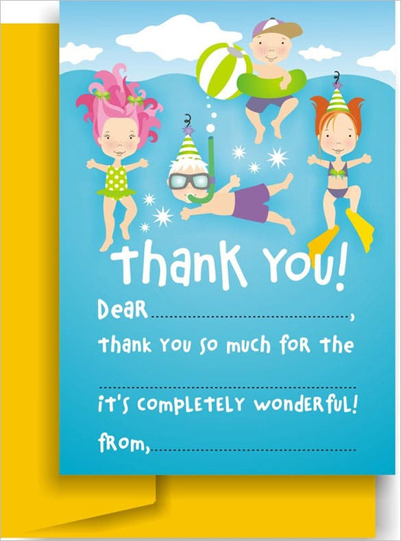 kids party thank you cardtemplate