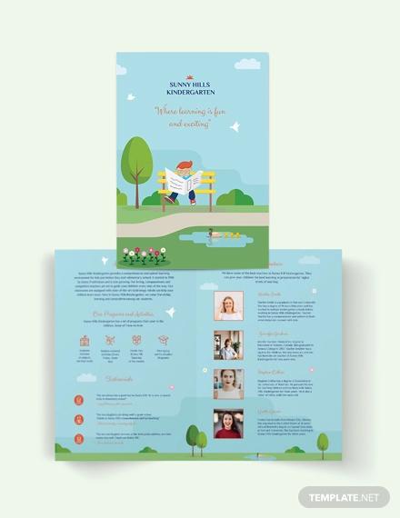 kindergarden bi fold brochure template