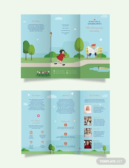 kindergarden tri fold brochure template