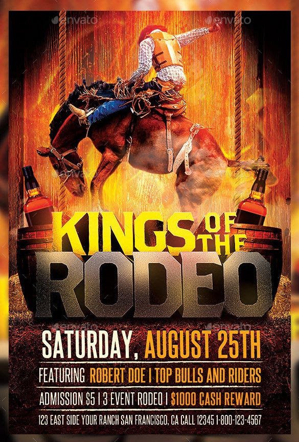 king of rodeo horse flyer template