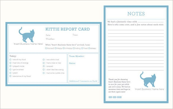 kittie cat sitting report card template 15