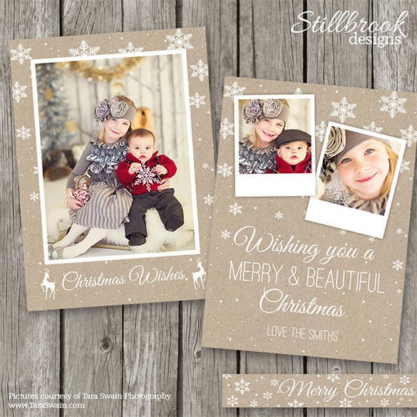 kraft photo holiday card template 24