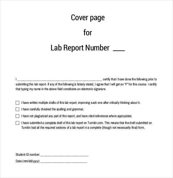 Lab Report Template 24 Free Word PDF Document – Report Cover Page Example