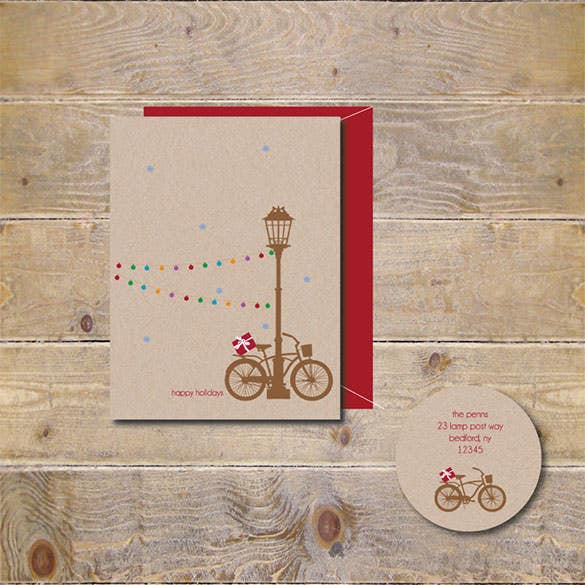 lamp post christmas holiday card set