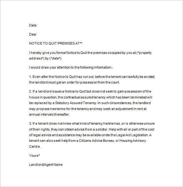 Nice Landlord Notice To Quit And Notice To Quit Letter