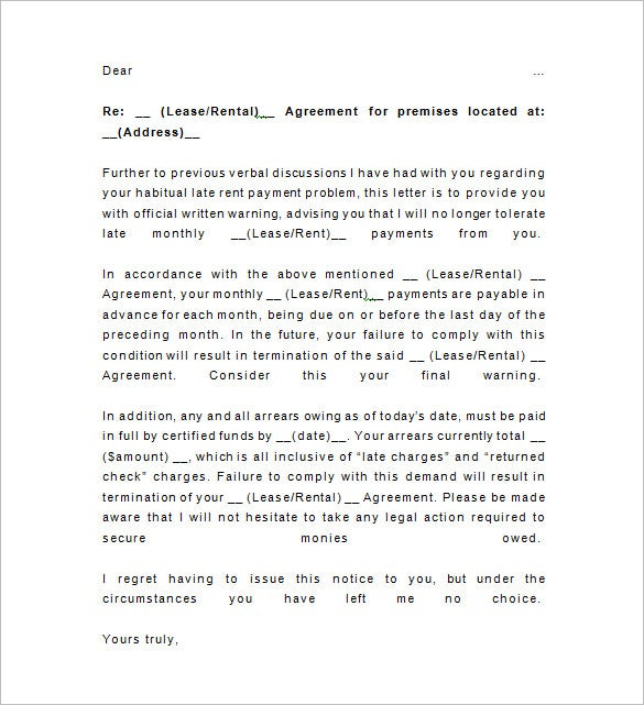 Late Rent Notice Template   Free Word Excel Pdf Format
