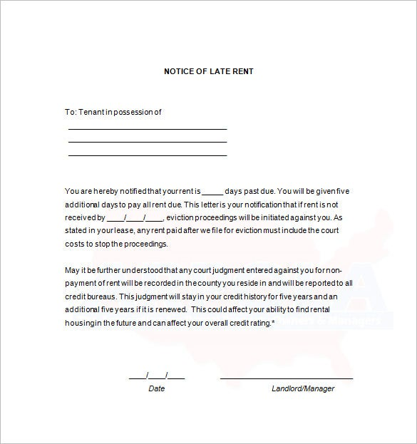 Late Rent Notice 15 Free Samples Examples Format Download – Good Faith Payment Letter