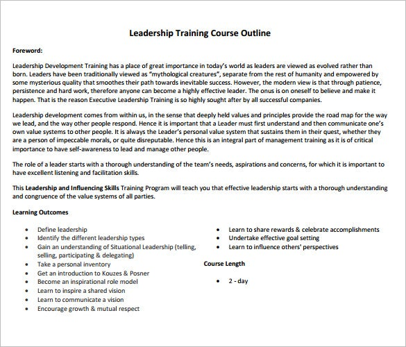 Training Course Outline Template   Free Free Word  Format