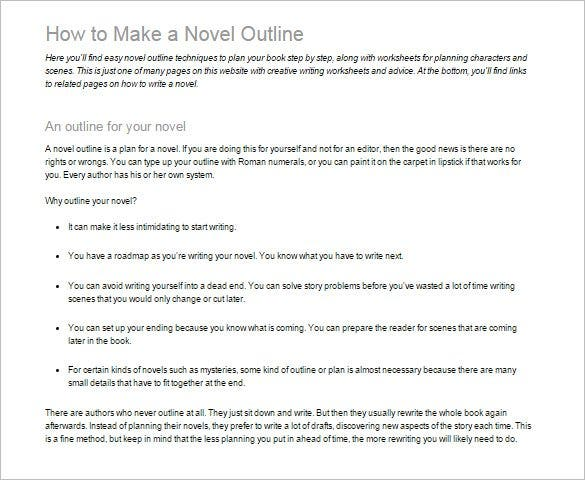 learn how to write a novel outline template