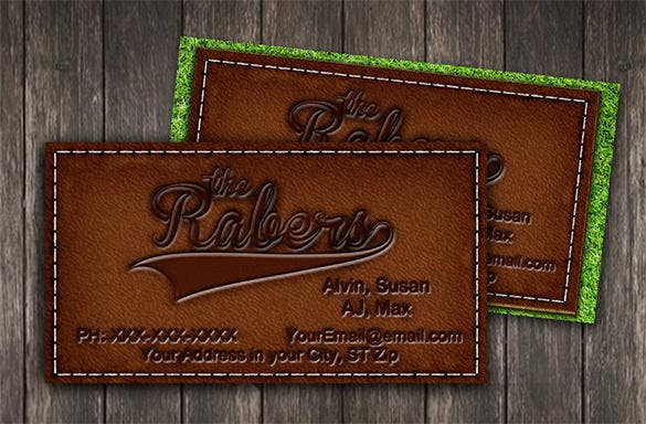 Contact card template 16 free printable word pdf psd eps leather stitched contact card template pronofoot35fo Images