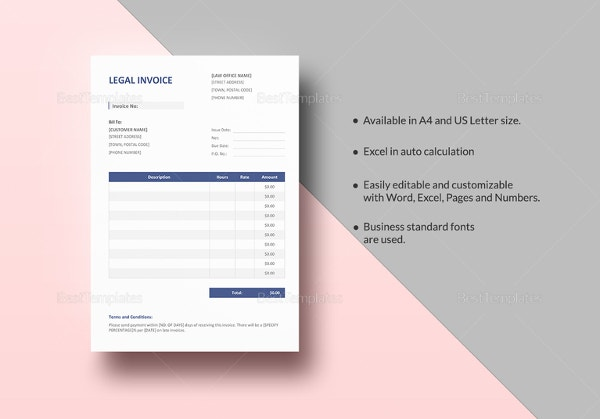 legal invoice template in excel