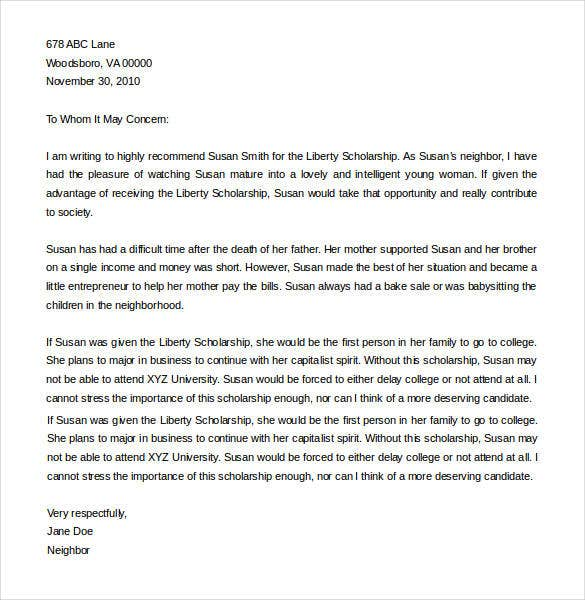 letter of recommendation for college scholarship from friend