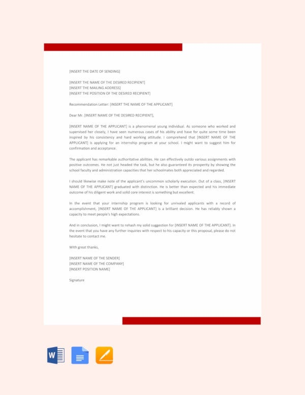 10 letters of recommendation for internship pdf doc free